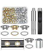 Vastar Oogjes gereedschapsset van puur koper, 100 delen (1/2 inch ID) 50 kleuren in goud en zilver met opbergdoos, geschikt voor lederen zeilen en andere stoffen, duurzaam (geel)