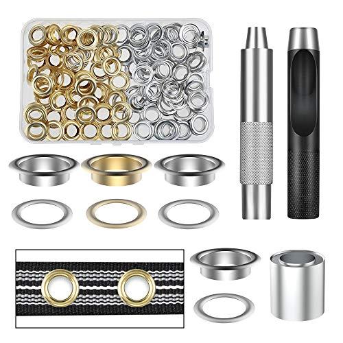 Vastar ösen Werkzeugset aus Reinem Kupfer, 100 Teile (1/2 Zoll ID) 50 Farben in Gold und Silber mit Aufbewahrungsbox, Geeignet für Lederplanen und Andere Stoffe, Langlebig (Gelb)