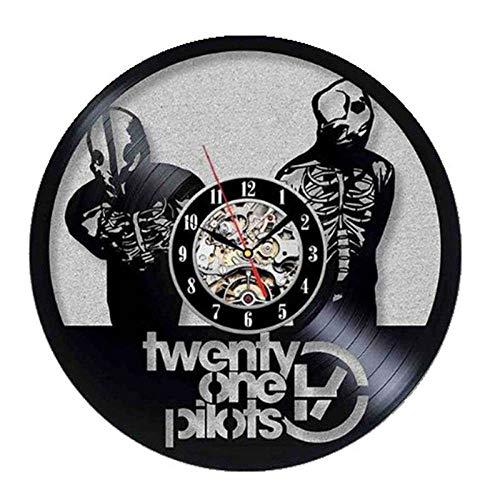 YLHJM Decoración de Aviador Sala de Estar Reloj de Pared Personalidad de la Moda Creativa Simple Moderno Disco de Vinilo Reloj de Pared -12 Pulgadas Estilo 3 Negro