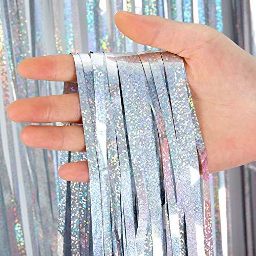 Comius Sharp 4 Stück Lametta Vorhänge Dekoration, 1 x 2.5 m Glitzervorhang Tinsel Vorhänge Folie Fringe Shimmer Vorhang für Party, Hochzeitsdeko, Geburtstags Silvester Weihnachten Deko (Silber)