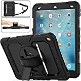 SEYMAC stock Case for iPad Air 3 2019/ iPad Pro 10.5, Drop-Proof Protection Case with (360 Degrees Rotate Stand) Hand Strap &(Pencil Holder) for iPad Air 3rd Generation / iPad Pro 10.5 (Black)