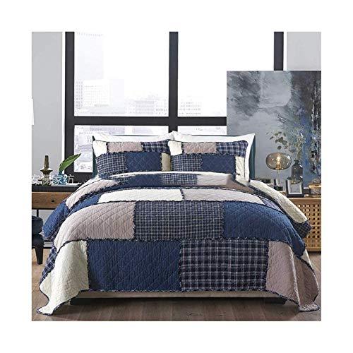 Bedsprei Gewatteerde bovenkant van bed, bedovertrekken Gewatteerde luxe tops Bed 2 personen Boutis katoenen deken Patchwork kussen op bed met 2 kussens, blauw, 230x250cm