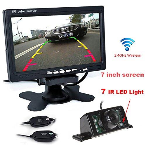 Auto Wayfeng WF® Caméra De Recul Voiture Étanche 7 LEDs Nocturne 420TVL 120°+ 7 Pouces TFT- LCD Moniteur à Deux Voies + 2.4GHz Récepteur Émetteur sans Fil DC 12V en ABS Noir