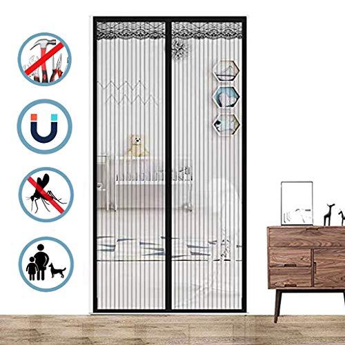 Aiyaoo Fliegengitter Tür Pendel 75x220cm Selbstklebend Befreien Ihre Hände vom Aufklappen Ohne Bohren (Nicht Kürzbar) Mehrere Größen für FliegengitterTür Tür Plissee - Schwarz