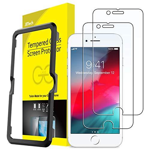 JETech Schutzfolie Kompatibel Apple iPhone SE 2020, iPhone 8, iPhone 7, iPhone 6s und iPhone 6, Panzerglas Displayschutzfolie mit Einfaches Installationswerkzeug, 2 Stück