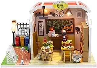 JVSISM M907 New Classroom Miniatura Wooden Doll House Furniture Wooden Miniaturas Dollhouse Toys for Children Birthday Gif...