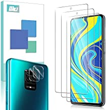 [5 Pack] WRJ 3 Pack Screen Protector + 2 Pack Camera Lens Screen Protector for Xiaomi Redmi Note 9S/Redmi Note 9 Pro,HD Anti-Scratch Anti-Fingerprint No-Bubble 9H Hardness Tempered Glass for Redmi Note 9S (Not for Note 9)