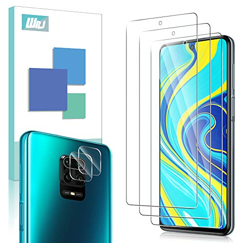 [5-Pack] WRJ 3 Pack Screen Protector with 2 Pack Camera Lens Screen Protector for Xiaomi Redmi Note 9S/Redmi Note 9 Pro,HD Anti-Scratch Anti-Fingerprint No-Bubble 9H Hardness Tempered Glass