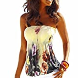 IMAGINE Women's Sexy Floral Print Strapless Pleated Tube Top Shirt Blouse Tanks Camis -XL, Yellow