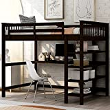 Full Loft Bed with Desk, Virabit Loft Bed with Storage Shelf, Solid Wood Frame Full Size Loft Bed with Stairs