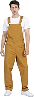 DISHANG Men's Bib Overalls with Adjustable Front Suspenders and Functional Pockets