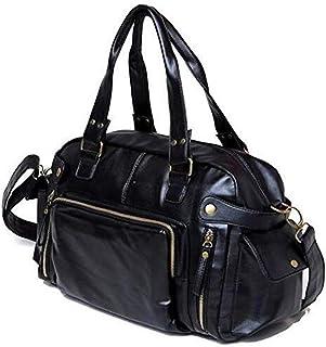 Men Artificail Leather Travel Bag Fashion Men's Tote Portable Luggage Bags GYM Sport Hiking Messenger Crossbody Bag (black)
