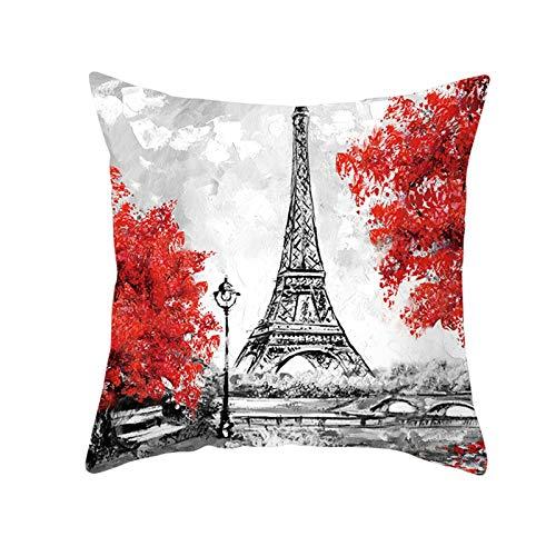 KnBoB Funda de Almohada Poliéster Rojo Gris Árbol de La Torre Eiffel 45 x 45 cm Estilo 9