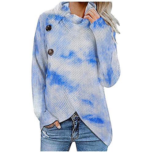 Womens Button Turtle Cowl Neck Asymmetric Hem Wrap Pullover Sweater Jumper Tops