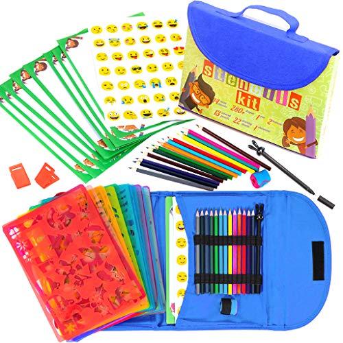 Kit de Plantillas de Dibujo para Niños 54-Piezas| Divertido Conjunto de Actividades de Viaje