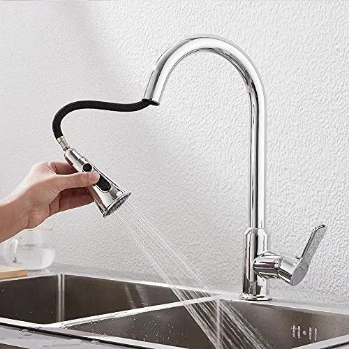 Grifo de cocina monomando de alta presión con ducha giratoria 360°, de acero inoxidable
