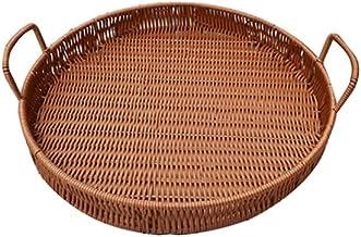 SKGOFGODcw Home Storage Bins Rattan Woven Storage Basket, Iron Frame Double Ear Handle, Round Tray, Bread and Fruit Snack ...