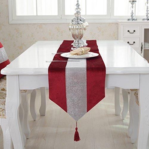 Jianyana Camino de mesa hecho a mano elegante estilo natural mantel con tira de diamantes y borlas para bodas y vacaciones