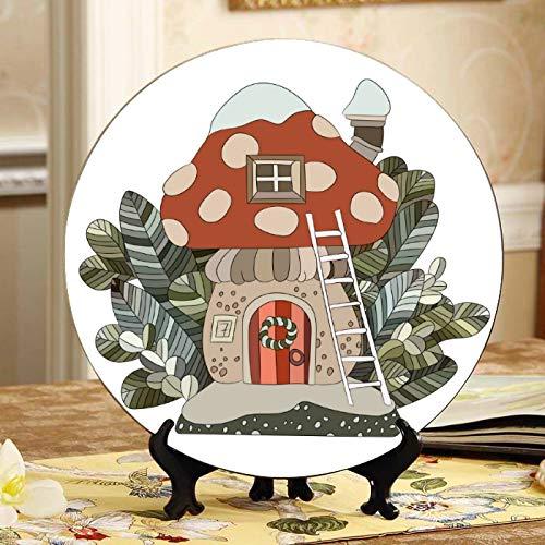 Setas de colores Casa en un bosque Placa de exhibición Platos baratos Placa de oscilación para el hogar de cerámica con soporte de exhibición Decoración Decoración de platos para el hogar