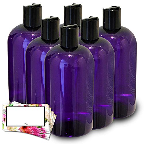 Baire Bottles - 8 Ounce Purple Plastic Bottles with Black Hand-Press Flip Disc Caps - Organize Soap, Shampoo, Lotion with a Clean Look, PET, No BPA - 6 Pack, including 6 Floral Labels