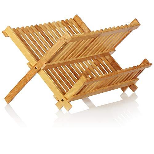 COM-FOUR® afdruiprek voor borden, opvouwbaar - bamboe afdruiprek - afdruiprek - vaatdroger - afdruiprek