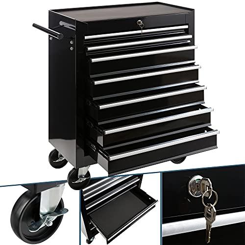 Carro de taller Arebos con 7 compartimentos | cierre centralizado | revestimiento antideslizante | ruedas con freno de estacionamiento | metal macizo | Negro