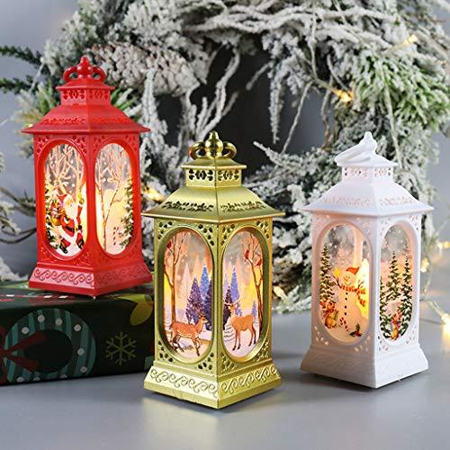 ZASUN Christmas Lantern Led Luminous Creative Christmas Decoration Portable Lantern Cute Snowman Deer Print Christmas Lamp for Friends Family