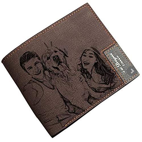 Cartera RFID de Cuero con Foto y Texto grabada Personalizada Carteras para Hombres, Esposo, papá, Hijo, Regalos Personalizados