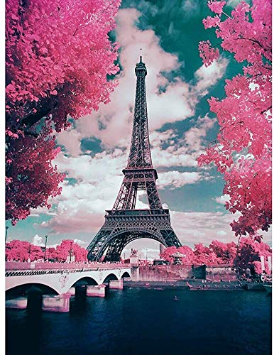 Pintura del diamante 5D Torre Eiffel Pintura diamante taladro completo Bordado Diamante de imitación para Decoración de la pared del hogar Decoración de diamantes 11.8 * 15.8 pulgadas (Eiffel)