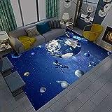 IOWLDMW Alfombra de Pelo Corto Universo Azul Gris Estrellas...