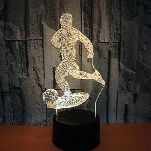 Nur 1 Stück Neue Fernbedienung 3D-Lampe Creative Football Bunte 3D-LED-Lampe Bunte 7-Farben-Änderung Touch Table Lampe