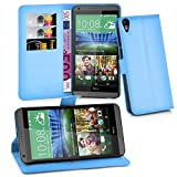 Cadorabo Hülle für HTC Desire 820 - Hülle in Pastel BLAU – Handyhülle mit Kartenfach & Standfunktion - Case Cover Schutzhülle Etui Tasche Book Klapp Style