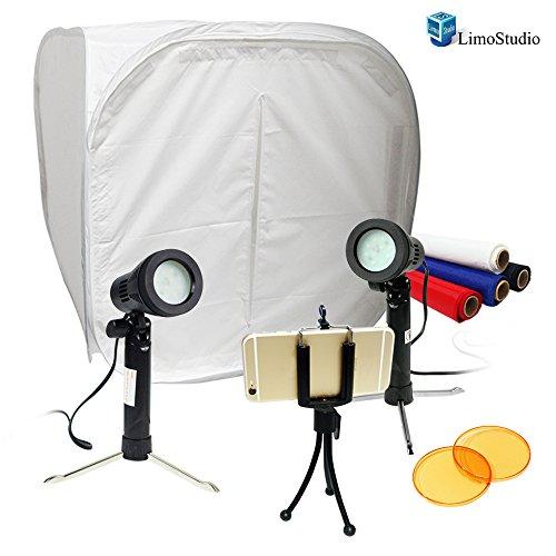 "LimoStudio Table Top Studio 30"" Photo Light Box Tent, 5500K 600 Lumen LED Lighting Kit with Color Gel Filter, Camera Tripod & Cell Phone Holder, AGG1577"
