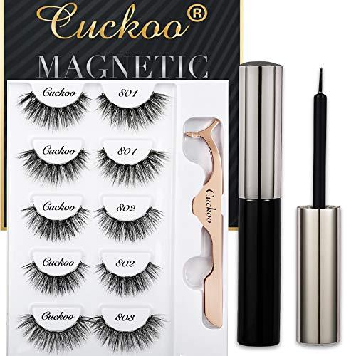 Magnetic Eyelashes and Eyeliner Kit, Magnetic False Eyelashes Magnetic Eyeliner for Magnetic Eyelashes Set, With Reusable Full Lashes Dramatic Style 5 Pairs