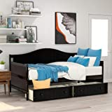 Wood Daybed Twin with Drawers, Twin Size Daybed Frame with Storage/Twin Bed Frame, No Box Spring Needed (Two Drawers Espresso)