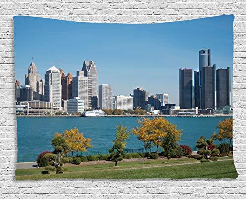 ABAKUHAUS Detroit Tapiz de Pared, Centro İndustrial, para el Dormitorio Apto Lavadora y Secadora Estampado Digital, 150 x 100 cm, Azul Verde Gris