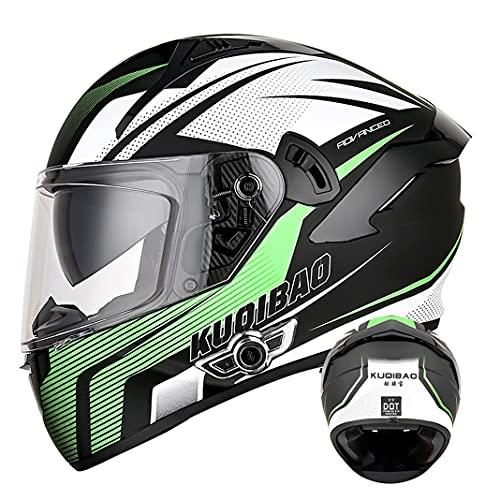 Adult Bluetooth Integrated Motorcycle Full Face Helmet with Anti-fog Double sun visor D.O.T Motorbike Scooter Flip Up helmets for Men Women (Green arrow) (58~60cm L)
