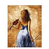DIY数字油絵 塗り絵キット パズル油絵 バイオリンを弾く女性 デジタル油絵 手塗り 数字キットによる絵画 絵かき インテリア 壁飾り ホームデコレーション 40x50cm(額縁なし)
