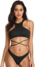 Dixperfect Women's Swimwear High Neck Wrap Around Two Pieces Bikini Sets Cheeky Bottom