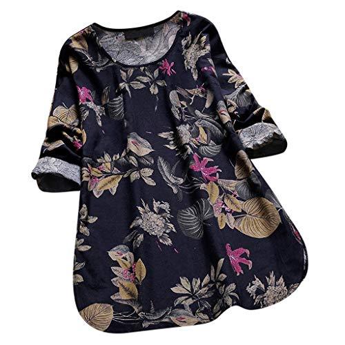 Topkal 2019 - Camiseta de manga corta para mujer, para verano, otoño, manga corta, suelta, informal, cuello redondo Negro  M