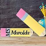 Teacher Gifts - 2 Pack Personalized Pencil Teacher Name Plates - Christmas Teacher Supplies...