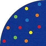 Kid Carpet Color Spots Corner Quarter Circle Nylon Area Rug, 6' x 6', Multicolored