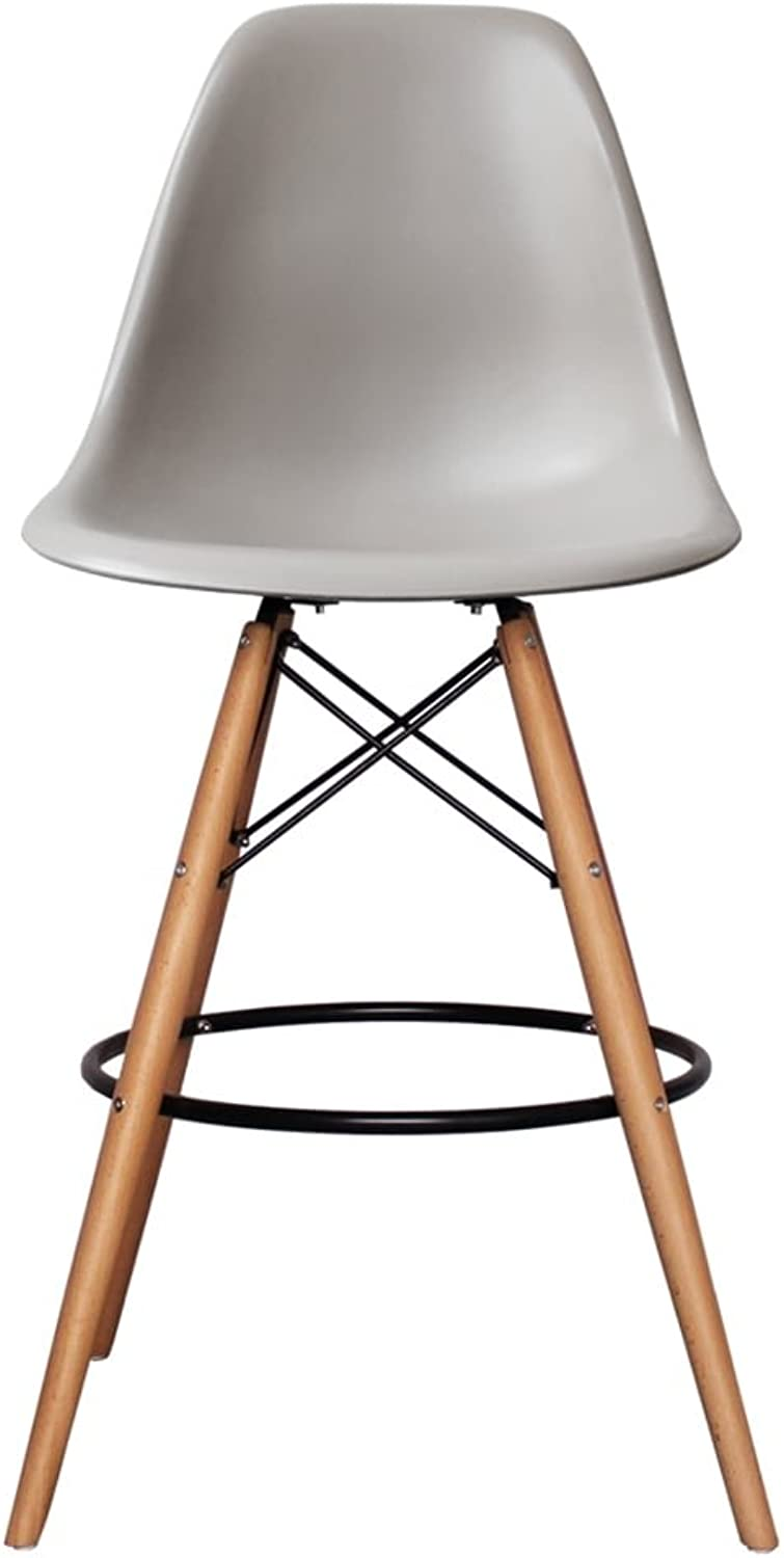 silver Import PDI-PC-016WH-LG Eames Style Eiffel Stool in Light Grey with Natural Base