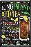 Lin Island 107 Gin Wodka Tequila Plaque en tôle Motif cocktail 20 x 30 cm