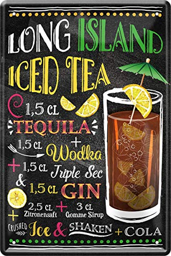 Long Island Gin Wodka Tequila Cocktail 20x30 cm Bar Party Keller Blechschild 107