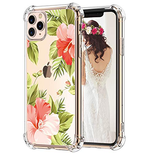 Hepix iPhone 11 Pro Max Tropical Case Floral Clear iPhone 11 Pro Max Case Flowers, Slim Crystal Flexible Soft TPU with Protective Bumpers Anti-Scratch Shock Absorption for iPhone 11 Pro Max (2019)