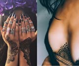 10 Sheets Black Lace Tattoos Temporary Paper Women Sexy Body Tattoo Sticker Water Transfer Tattoo for Professional Make Up Dancer Costume Party Shows