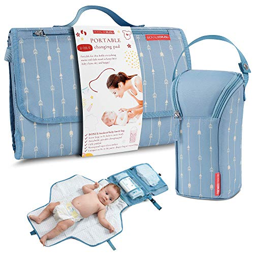 Portable Diaper Changing Pad Waterproof – B0NUS Insulated Baby Bottle Bag, 2-in-1 Diaper Clutch and Changing Mat, Wipe Clean Portable Changing Pad with Built-in Head Cushion (Light Blue)