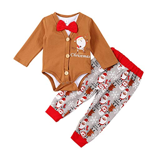 bilison Newborn Baby Boy Christmas Clothes My First Christmas Clothes Gentleman Bow Tie Romper+Cardigan+Santa Claus Pants 3pcs Outfits