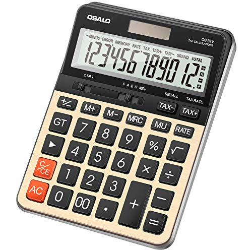 Calculator Desktop,12 Digit Large Number Calculator,Large LCD Display, Handheld Calculator with Tax Functions,Battery and Solar Calculator, Large Display and Buttons for Daily School Office